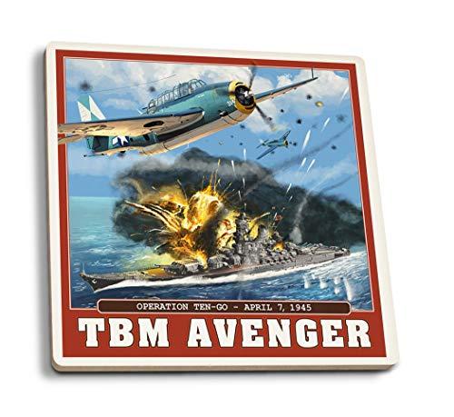 4 Stück Gummi Untersetzer für Getränke, TBM Avenger - Operation Ten-Go, Saugfähige Untersetzer, Getränkeuntersetzer für Tischschutz Küche Zimmer Bar Dekor