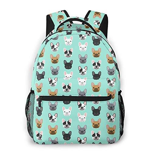 French Bulldog Casual Bookbag Backpack For Teen Girls Boys Gift