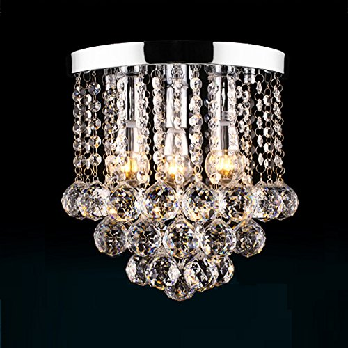 """Surpars House Crystal Chandelier,3 Lights,11"""" W, 10"""" H,Silver"""