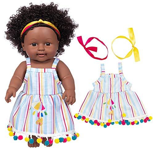 jieGorge Juguete Educativo, Negro Africano Negro bebé Lindo Rizado Negro 35 cm Vinilo bebé Juguete, Juguetes y Pasatiempos (G)