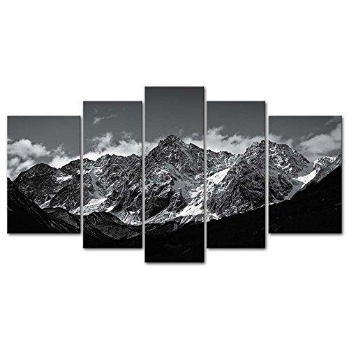 Juego de 5 lienzos decorativos con impresión Giclée y diseño de una fotografía de montaña nevada en tonos blancos y negros, de estilo moderno, ideal para salones