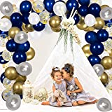 Navy Blue Balloons Garland Kit,115pcs White Silver Gold Confetti Balloons Arch Kit with 16ft Strip Tape & Dot Glue for Bridal Shower Baby 1st Birthday Party Wedding Anniversary Graduation Decorations