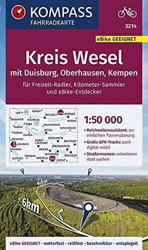KOMPASS Fahrradkarte Kreis Wesel mit Duisburg, Oberhausen, Kempen 1:50.000, FK 3214: reiß- und wetterfest (KOMPASS-Fahrradkarten Deutschland, Band 3214)