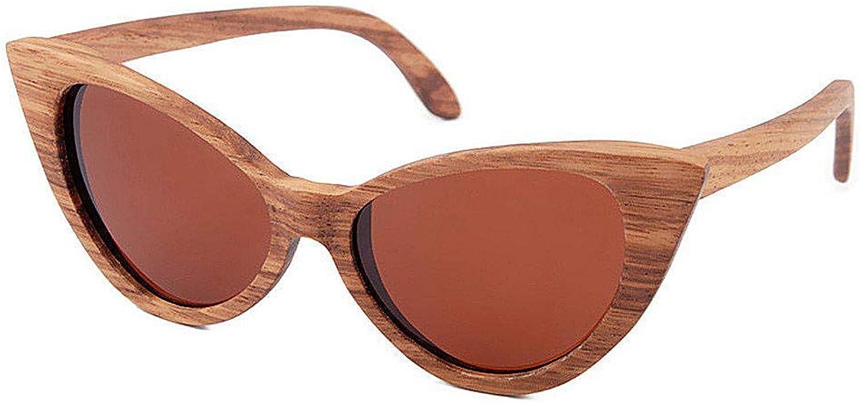 Glasses Cat Eyes colord Lens Lady's Wood Sunglasses UV Predection Handmade for Men Women