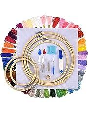 JUNSHUO Borduurstartkit met 5 Stuks Bamboe Borduurringen, 100 Verschillende Kleurendraden, Borduurpakket, Cross Stitch Kit, Decoratie Kruissteek Pakket en Ander Noodzakelijk Gereedschap