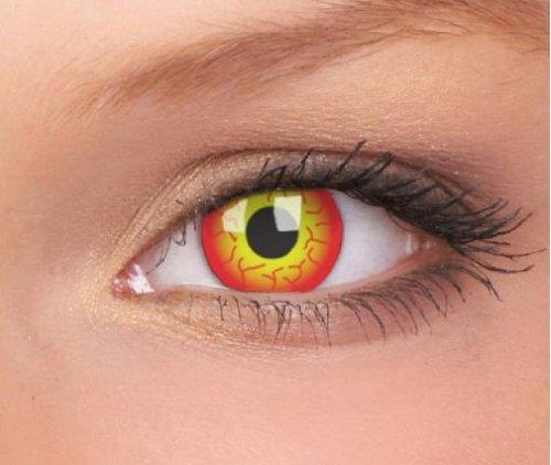Farbige Kontaktlinsen Crazy Motivlinsen DARTH MAUL Kostüm Karneval Halloween Rot mit Gelb Funlinsen 1 Paar mit gratis Linsenbehälter.