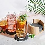 Sidorenko Untersetzer rund für Gläser aus Schiefer - 6er Set Ink. Box - Design Glasuntersetzer in dunkelgrau für Getränke, Tassen, Glas - 4