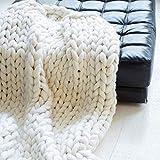 ASY Manta de punto gruesa hecha a mano para tejer, manta gigante, suave, gruesa, supersuave, manta para sofá, manta para mascotas, decoración de dormitorio, color blanco, 100 x 200 cm