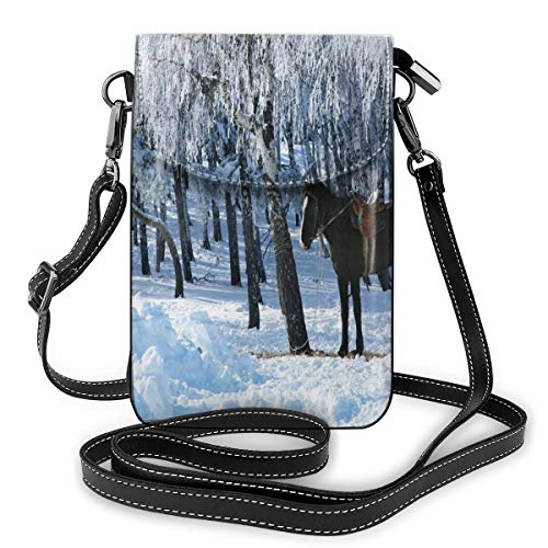 Women Mini Purse Crossbody of Cell Phone,Horse Between Trees In Winter Forest Frozen Woods ICY Land Nature Picture