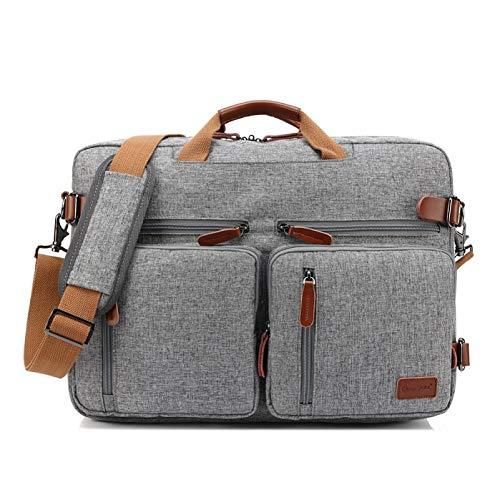 XIEJIA Computer Handbag Business Briefcase Rucksack Convertible Backpack Laptop Bag 15 17 17.3 Inch Notebook Bag Shoulder Messenger,Gray,17-Inch