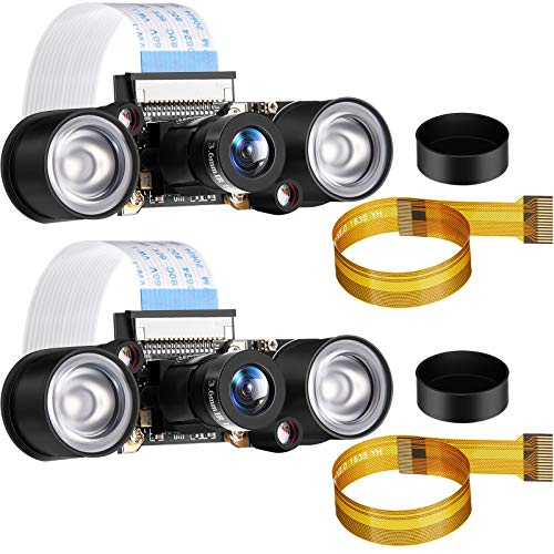 2 Sets für Raspberry PI Kamera Modul 5MP OV5647 1080P Video Webcam Sensor Infrarot Nachtsicht Kamera Modul für B/B + A + RPi 4/3/ 2/1/ Null/Null W mit FFC-Kabel (Einstellbar Fokus)