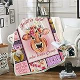 Cow Print Blanket Fleece Blanket Cartoon Watercolor Cow Fall Throw Blanket Cute Pink Farm Animal Plush Blanket Girls Women Sherpa Blanket Birthday Gift (51'x59'(130x150cm))