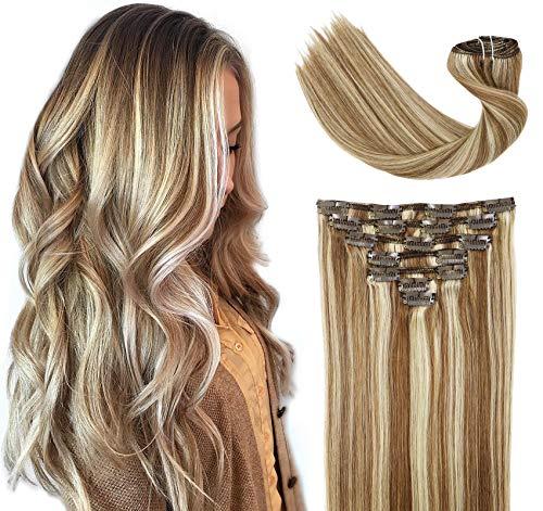 Clip-in haarextensies van menselijk haar, gemengd gebleekt, blond, extensionclip, in dik, dubbel geweven Braziliaans balayage ombre, 120 g, 7 stuks, volledige hoofd, zijdezacht, steil, 100% mensenhaar, clip-in extensions, 40 cm
