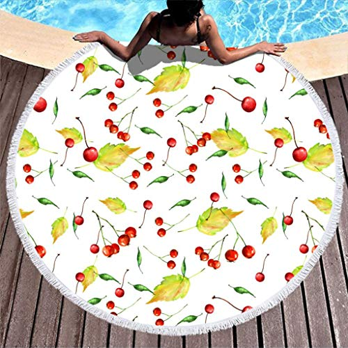 yjduop Round Beach-Towels Pool-Towels [designName] Beach Blanket Yoga Mat with Tassels Soft and Quick-Dry Yoga Blanket for Picnic white2 59 inch