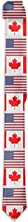 Men`s Skinny Tie Floral Print Necktie, American Flag And Canada Flag Best For Missions