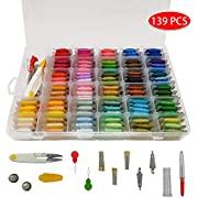 Familamb Embroidery Thread Floss with Organization Box- 139 Pcs Embroidery Threads Kits Including 100 Colors Crafts Floss Wrapped Around The Plastic Bobbin and 39 Pcs Cross Stitch Tool Kits