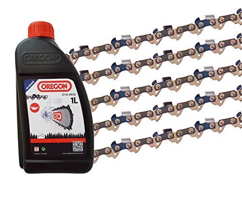 5 x gardexx Sägekette für Scheppach CSE 2500 + 1L Kettenöl