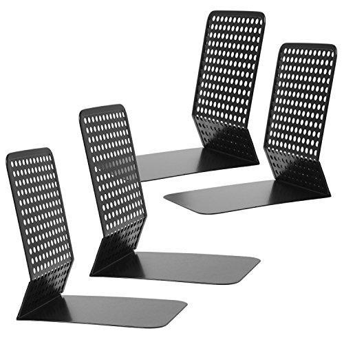 Modern Perforated Style Metal Office 4 Bookends Bookshelf Racks, Set of 2, Black