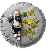 Borlai Alfombra de Juego de Piso para Bebé Alfombra de Volantes Redonda Alfombra de Área de Guardería Suave para Niños Niñas