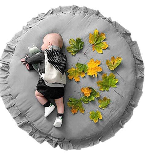 Camidy Tapis Rond de Plancher pour Enfants Tapis de Jeu à Volants pour Bébé Tapis de Jeu en Coton pour Bébé