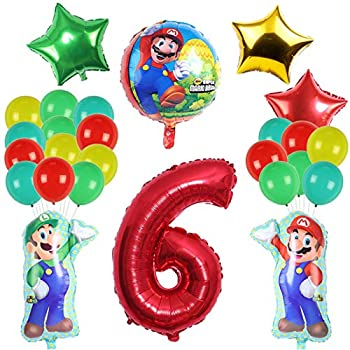 Palegg Super Mario Bros Balloons Mario Birthday Party Supplies 6th Birthday Balloon Super Mario Party Decorations for Kids Set of 27 Pcs  6th Super Mario