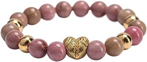 LuckyLy – Pulseras Mujer Acero Inoxidable Remy – Pulseras Mujer Corazón con Piedras Naturales – Rodonita Rosa, Detall...