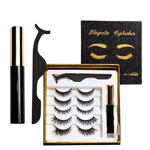ZUMIKO - Magnetische Luxus Wimpern (5 Paar) mit wasserfestem magnetischem Eyeliner(5ml) und Applikator - ohne Kleber - individuell anpassbar - vegan - ohne Tierversuche - Designed in Germany