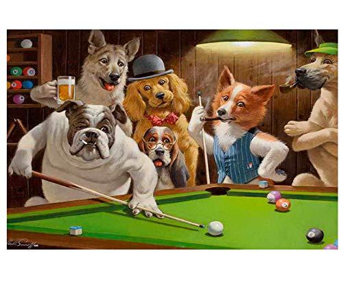 Wohnkultur Kunst Wand Hunde Spielen Pool Billard Ölgemälde Bild Gedruckt Auf Leinwand 40 * 60 cm Ohne Rahmen