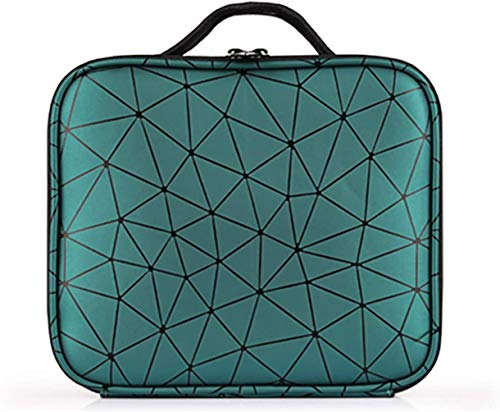 Travel Makeup Train Case, Moricher Geometric texture Makeup Bag Organizer Cosmetic Bag with Adjustable Dividers for Cosmetics Makeup Brushes Toiletry Jewelry Digital Accessories