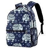 Mochila escolar para niños con diseño de elefante floral de 40,6 cm para estudiantes, pequeña mochila para preescolar, guardería, escuela primaria