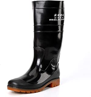 Mens Wellies Wellington Boots 100% Waterproof Rain Shoes Tall Working Boots Soft Fabric Lined Round Toe Flat Wider Calf Garden Boots Anti Static Outdoor Shoes for Wet Cold Weather