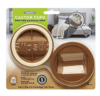 Slipstick CB840 3-1/4 Inch Bed Roller / Furniture Wheel Gripper Caster Cups  Set of 4  Caramel Color,Large