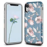 Ballaber for iPhone XR Case for Women Slim Hard Shell with Soft Silicone Rubber Bumper Shockproof Protective Case Cover for Apple iPhone XR 6.1 inch (Magnolia)