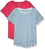 Amazon Essentials Women's 2-Pack Classic-Fit 100% Cotton Short-Sleeve Crewneck T-Shirt, French Blue Stripe/Bright Pink, Medium