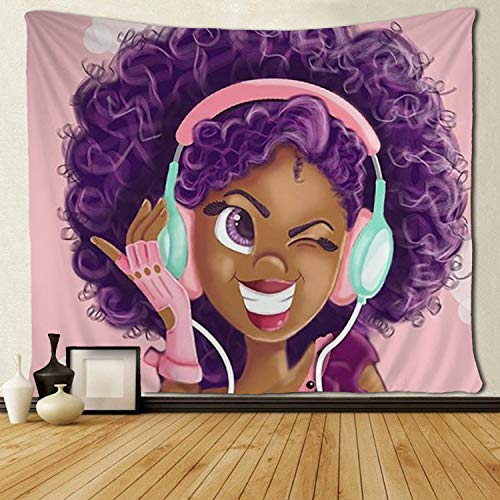 SARA NELL Tapestry Black Girl African American Girl Love Music Tapestries Hippie Art Wall