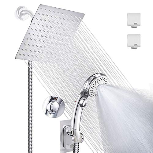 Shower Head with handheld, High Pressure 8'' Rainfall Stainless Steel Shower Head/Handheld Shower with ON/OFF Pause Switch Shower Combo with hose,Adhesive Shower Head Holder