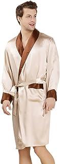 LSHARON Men's 100% Mulberry Silk Long Sleeves Robe Sleepwear Bathrobes Loungewear Nightwear Nightgown