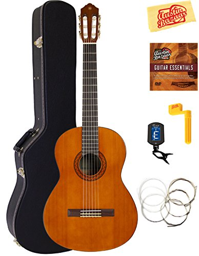 Yamaha CGS104A Full-Size Classical Guitar Bundle with Hard Case, Tuner, Instructional DVD, Strings, and Polishing Cloth - Natural