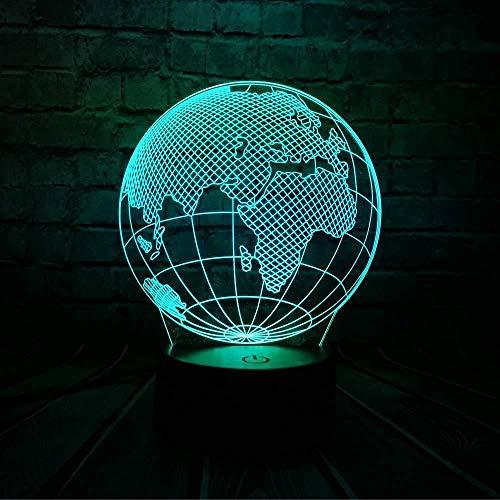 3D Illusion LED-Licht 3D-Lampe Nachtlicht Globe World 3D-LED-Lampe 7 Farben Change Mood Bulb Kid Desk Dekorative Schlaflampe Gadget Geschenk Spielzeug mit Fernbedienung USB