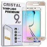 REY Protector de Pantalla Curvo para Samsung Galaxy S6 Edge, Oro, Cristal Vidrio Templado Premium, 3D / 4D / 5D