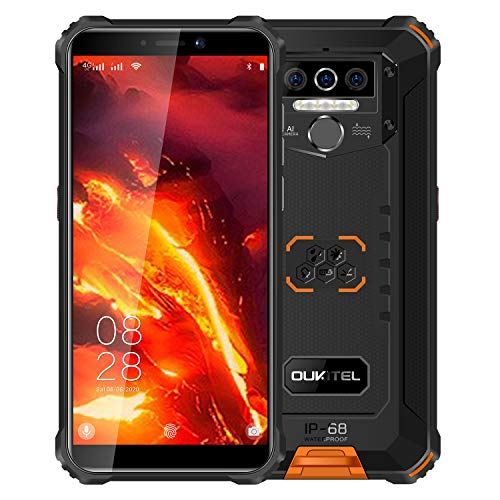 4G Teléfono Móvil Resistente OUKITEL WP5 Pro, Batería de 8000 mAh, Android 10 Smartphone Impermeable IP68, 4 Luces de Flash LED, Helio A25 4GB + 64GB, 13MP + 2MP + 2MP, Reconocimiento Facial Naranja