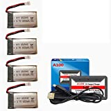 3.7V 650mAh Rechargeable Lipo Battery for Syma X5C X5SW X5 X5C-1Cheerson CX-30 RC Drone Battery 4 Pack with A100 6-in-1 Charger