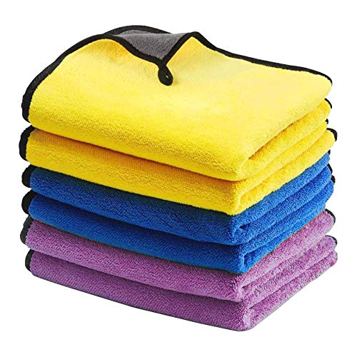 YuuHeeER Paño de limpieza de microfibra para coche, súper absorbente, ultra suave, toalla de secado automático, 6 unidades