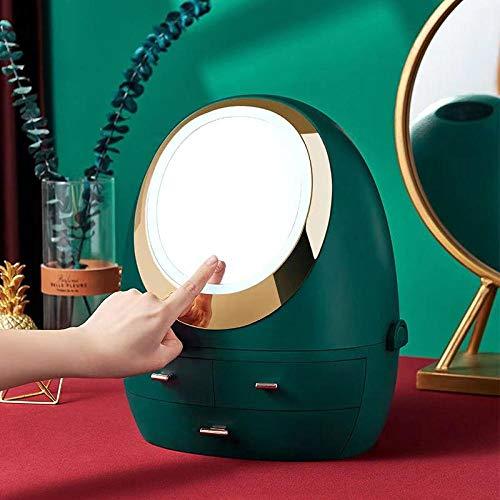 HFTYCC Caja de maquillaje Caja de almacenamiento de cosméticos con LED Rotación de espejo de 360 grados Caja de almacenamiento de gran capacidad -verde_32,5 × 26,5 × 39 cm