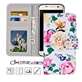 Galaxy S7 Wallet Case,Galaxy S7 Case,MagicSky Premium PU Leather Flip Folio Case Cover with Wrist Strap,Card Slots,Cash Pocket,Kickstand for Samsung Galaxy S7 5.1 inch (Flower)