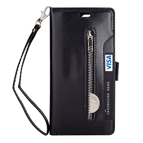 Galaxy J3 (2016) J320/ Sky S320/ Sol J321/ Amp Prime/Express Prime Case,Folice Zipper Wallet Case [Magnetic Closure]& 9 Card Slots, PU Leather Kickstand Wallet Cover Durable Flip Case (Black)