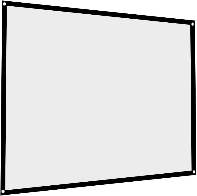 Portable Projector Screen, Foldable Non-Crease White Projection Screen, 4: 3 Format 60/72/84/100 Inches, with Black Edging and Hanging Holes, Perfect for Home Theater Camping(100inch)