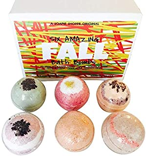 Fall Bath Bomb Set by Soapie Shoppe, Six 5.5 oz. Bath Bombs, Best for Relaxing, Hydrates and Moisturizes the Skin, AUTUMN Flavors, Hand-Crafted, Natural Ingredients