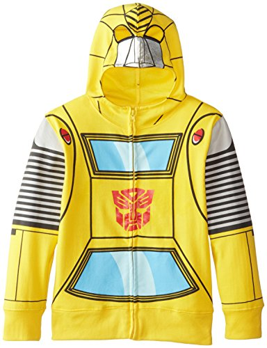 Transformers Big Boys' Bumblebee Character Hoodies, Yellow Silver, Small / 8