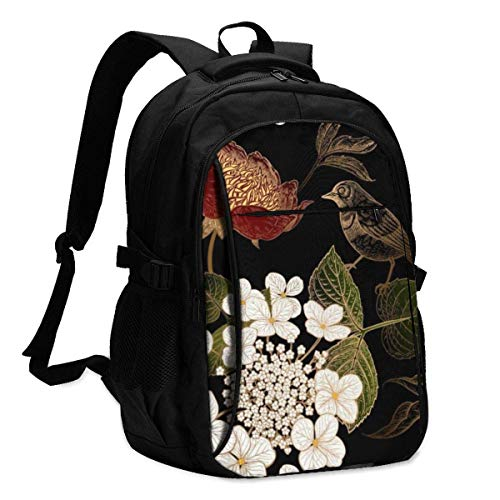 IUBBKI Bolsa para computadora mochila USB Peonies, Hydrangea and Little Birds. Floral Vintage Office & School Supplies with USB Data Cable and Music Jack Laptop Bags Computer Notebook 18.1X13.3 inch